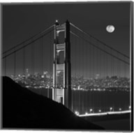 Golden Gate and Moon BW Fine-Art Print