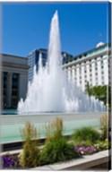 Fountain at the Temple Square, Salt Lake City, Utah, USA Fine-Art Print