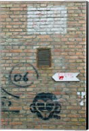 Art and signs painted on a brick wall, Dashanzi Art District, Dashanzi, Chaoyang District, Beijing, China Fine-Art Print