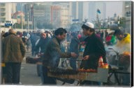 Muslim Chinese Uyghur minority food vendors selling food in a street market, Pudong, Shanghai, China Fine-Art Print
