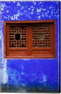 Blue Temple wall detail, Mingshan, Fengdu Ghost City, Fengdu, Yangtze River, Chongqing Province, China Fine-Art Print
