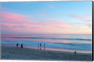 Tourists on the beach at sunset, Santa Monica, California, USA Fine-Art Print