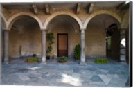Courtyard of a building, Como, Lombardy, Italy Fine-Art Print