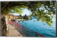 Walkway along the shore of a lake, Varenna, Lake Como, Lombardy, Italy Fine-Art Print