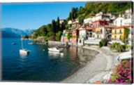 Houses at waterfront with boats on Lake Como, Varenna, Lombardy, Italy Fine-Art Print
