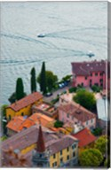 High angle view of buildings in a town at the lakeside, Varenna, Lake Como, Lombardy, Italy Fine-Art Print