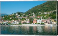 Building in a town at the waterfront, Argeno, Lake Como, Lombardy, Italy Fine-Art Print