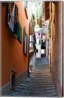 Town steep street, Varenna, Como, Lombardy, Italy Fine-Art Print