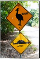 Warning sign at the roadside, Cape Tribulation, Queensland, Australia Fine-Art Print