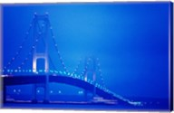 Fog surrounding the Mackinac Bridge at dusk, Michigan, USA Fine-Art Print