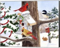 Winter Birdhouse And Cardinals Fine-Art Print