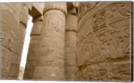 Hieroglyphic covered columns in hypostyle hall, Karnak Temple, East Bank, Luxor, Egypt Fine-Art Print