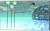 Life under domes on an alien waterworld Fine-Art Print