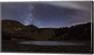 Star trails and the blurred band of the Milky Way above a lake in the Eastern Sierra Nevada Fine-Art Print