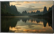Li River and karst peaks at sunrise, Guilin, China Fine-Art Print