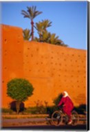 Veiled Woman Bicycling Below Red City Walls, Marrakech, Morocco Fine-Art Print