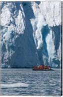 Zodiac with iceberg in the ocean, Antarctica Fine-Art Print