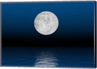 Beautiful full moon against a deep blue sky over the ocean Fine-Art Print