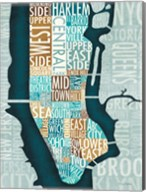 Manhattan Map Blue Brown Fine-Art Print