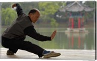 Man Doing Tai Chi Exercises at Black Dragon Pool with One-Cent Pavilion, Lijiang, Yunnan Province, China Fine-Art Print