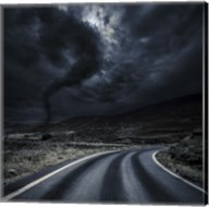 Tornado near a winding road in the mountains, Crete, Greece Fine-Art Print