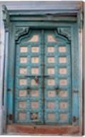 Blue-painted door, Jojawar, Rajasthan, India Fine-Art Print
