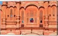 Tourist by Window of Hawa Mahal, Palace of Winds, Jaipur, Rajasthan, India Fine-Art Print