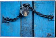 India, Ladakh, Kargil, Padlock on blue door Fine-Art Print