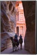 Tourists in Al-Siq leading to Facade of Treasury (Al Khazneh), Petra, Jordan Fine-Art Print