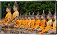 Row of Buddha statues, Wat Yai Chaya Mongkol or The Great Temple of Auspicious Victory, Ayutthaya, Thailand Fine-Art Print