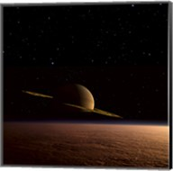 Saturn Floats in the Background Above Titan Fine-Art Print