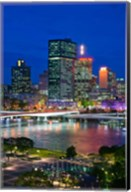 Australia, Queensland, Brisbane, City Skyline  at night Fine-Art Print