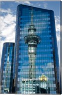 Reflection of Skytower in Office Building, Auckland, North Island, New Zealand Fine-Art Print