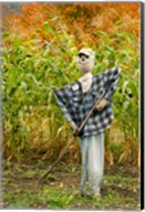 New York, Cooperstown, Farmers Museum Fall cornfield with scarecrow Fine-Art Print
