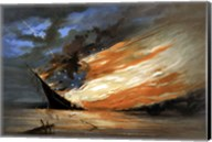 Vintage Civil War painting Warship Burning Fine-Art Print