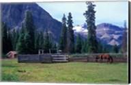 Log Cabin, Horse and Corral, Banff National Park, Alberta, Canada Fine-Art Print