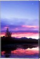 Crescent Moon Over Vermillion Lake in Banff National Park, Alberta, Canada Fine-Art Print
