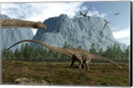 Diplodocus Dinosaurs Graze While Pterodactyls Fly Overhead Fine-Art Print