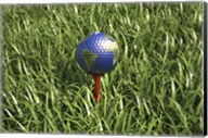 3D Rendering of an Earth Golf Ball on Tree in the Grass Fine-Art Print