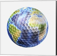 3D rendering of a planet Earth Golf Ball, White Background Fine-Art Print