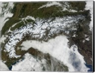 Satellite Image of The Alps Mountain Range Fine-Art Print