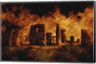 Composite Image of Stonehenge and Fire Fine-Art Print