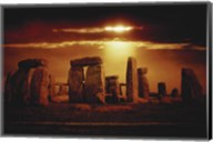 Composite of a Sunset over Stonehenge, Wiltshire, England Fine-Art Print