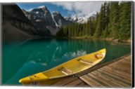 Canoe along Moraine Lake, Banff National Park, Banff Fine-Art Print