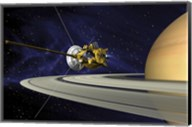 Artists Concept of Cassini during the Saturn Orbit Insertion Maneuver Fine-Art Print
