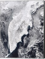 Satellite view of Kamchatka Peninsula, Eastern Russia Fine-Art Print