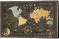 Old World Journey Map Black Fine-Art Print