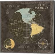Old World Journey Map Black I Fine-Art Print