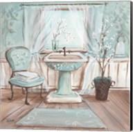 Aqua Blossom Bath I Fine-Art Print