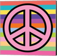 Peace - Pink on Stripes Fine-Art Print